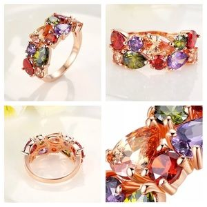 Jewelry - Colorful CZ Ring Rose gold Plated